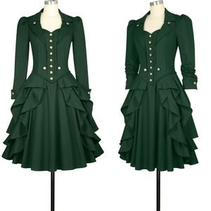 Gothic Clothing Ruffle Long Sleeve Dress Green